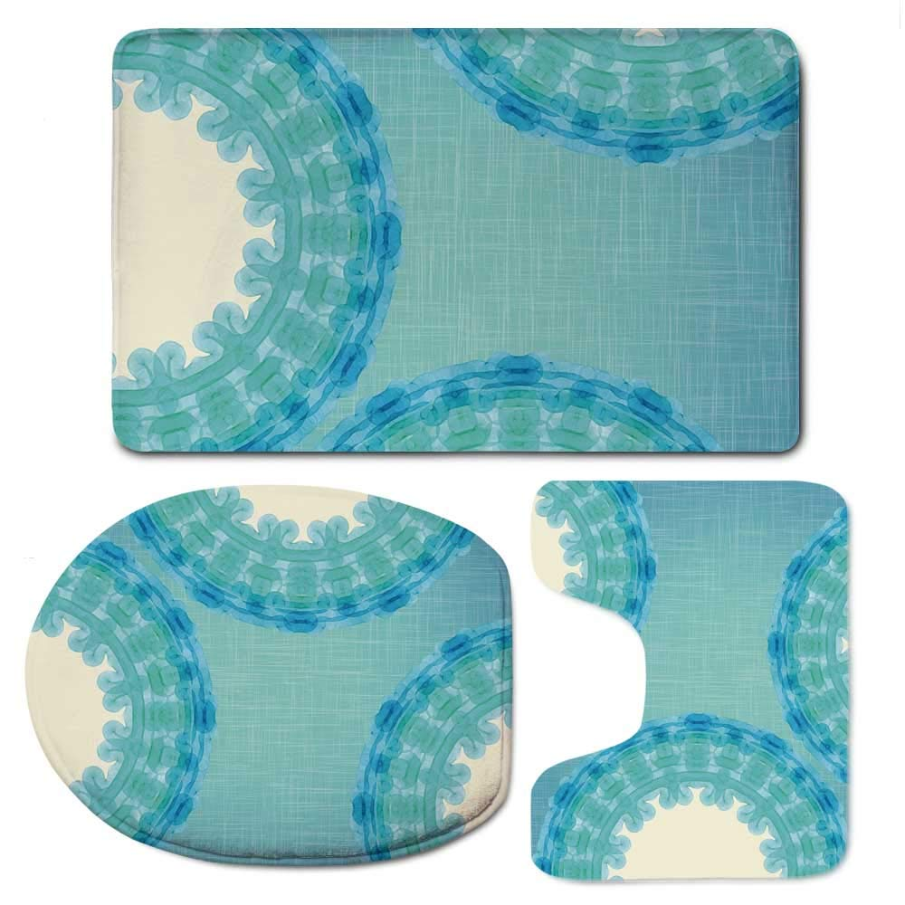 YOLIYANA Aqua Vaurious Comfortable Bathroom 3 Piece Mat Set,Tie Dye Mandala Ombre Image with Circles Rounds Indian Decorative for Office,F:20'' W x31 H,O:14'' Wx18 H,U:20'' Wx16 H