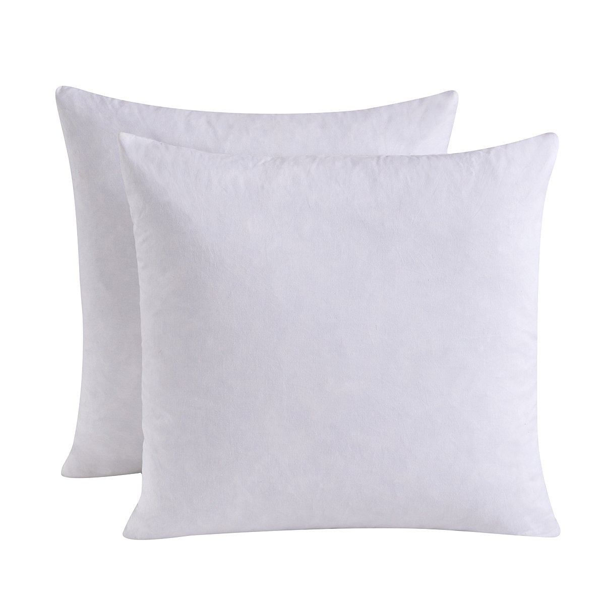HOMESJUN Set of 2, 95% Feather 5% Down Square Decorative Throw Pillow Insert, 100% Cotton, 18x18 inch