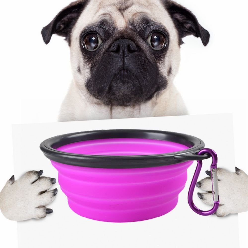 Visky Portable Pets Travel Cup/Bowl Dog Cat Rabbit Collapsible Water/Food Bowl With Carabiner -Purple-Capacity: 1.5 cups.