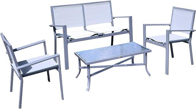 Ensemble Salon de Jardin Meuble de Jardin 4 Places en textilène 1 canapé +  2 fauteuils + 1 Table Casse Cadre en Acier Gris