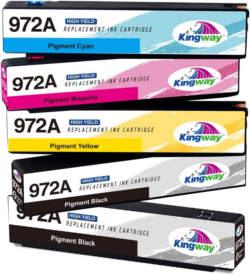 Kingway Remanufactured Ink Cartridge Replacement for HP 972A 972 Work with HP Pagewide 377dw, 377dn, Pro 452dn 452dw 477dn 477dw 577dw Pro 552dw Printer(5 Pack) 2BK 1M 1Y 1C