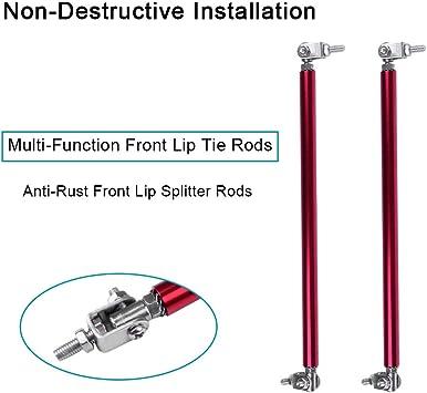 2x Red 10cm Adjustable Bumper Lip Air Splitter Support Rods Strut Tie Bar