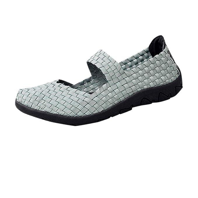 36a6da089511 DENER❤ Unisex Men Women Elastic Woven Slip on Loafers Casual Walking  Shoes