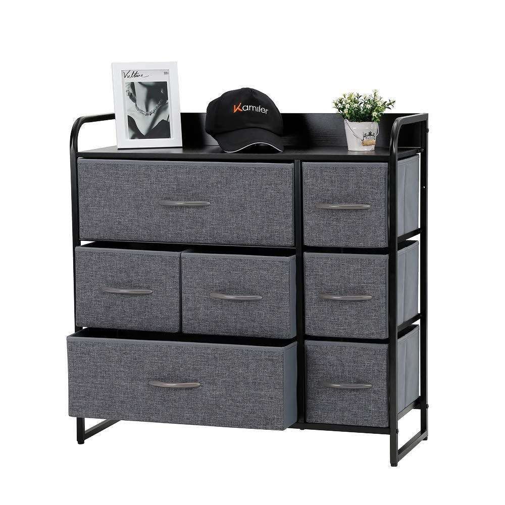 Kamiler 7-Drawer Dresser, 3-Tier Storage Organizer, Tower Unit for Bedroom/Hallway/Entryway/Closets - Sturdy Steel Frame, Wooden Top, Removable Fabric Bins by Kamiler
