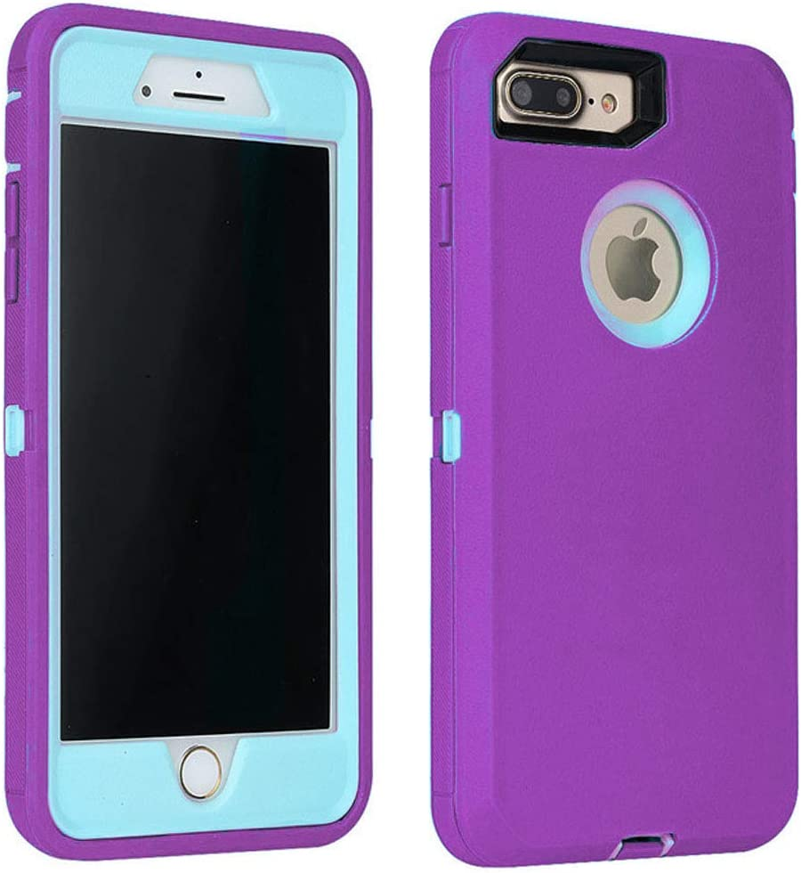Annymall Case Compatible with iPhone 8 Plus/iPhone 7 Plus, [Heavy Duty] Built-in Screen Protector Tough 4 in1 Rugged Shorkproof Cover for Apple iPhone 7 Plus & iPhone 8 Plus (Purple)