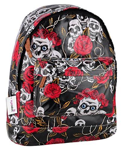 EyeCatch School Black Skull Rucksack BackPack Roses Bag Ladies Girls Brand ZqxBSTT