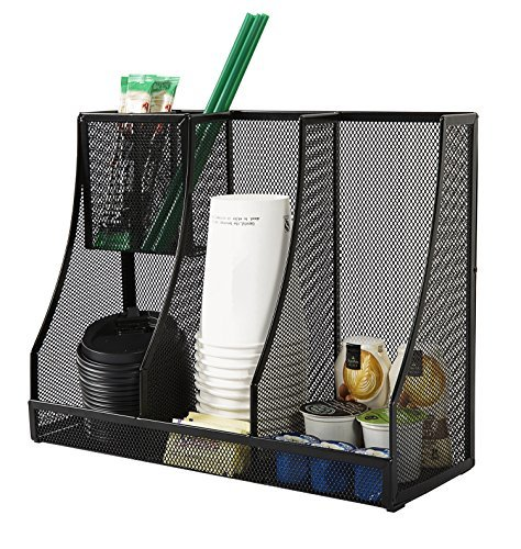 DESIGNA Metal Mesh Cup and Lid Organizer, Coffee Condiment Organizer,Black
