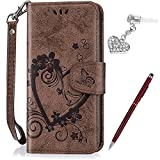 "iPhone 6S Plus Case,iPhone 6 Plus Case,ikasus Embossing Love Butterfly Flower Flip Folio Wallet Case PU Leather Stand Protective Case +Touch Pen Dust Plug for iPhone 6S Plus / 6 Plus 5.5"",Brown"