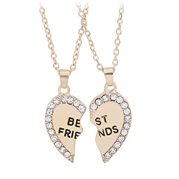 half alloy best pendant heart bestie friendship fletion necklace matching broken girl rhinestone friends piece dp
