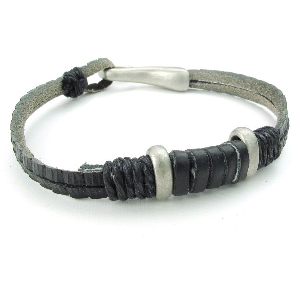 TEMEGO Jewelry Wide Leather Wrap Bracelet Black Silver Vintage Stainless Steel Charm Cuff Bangle