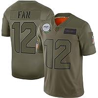 Camiseta de Manga Corta Verde Militar para Hombres, Fútbol Nacional Deportes Seahawks Equipo Jersey de Fan, Numero de…