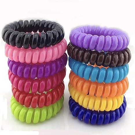 10 x Haargummi Kunststoff Elastisch Telefonkabel Zopfband Haarband schwarz