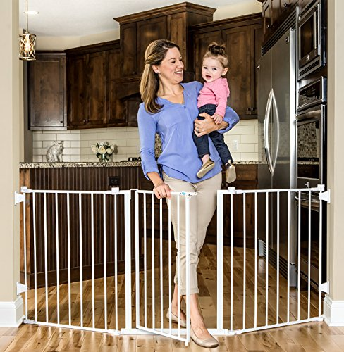 Regalo Super Wide Metal Configurable Baby Gate with 4 Pack of Wall Mounts, 76