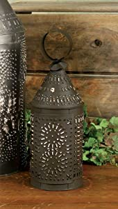 CTW Rustic Brown Punched Tin Paul Revere Candle Lantern,5 wide and 14 high