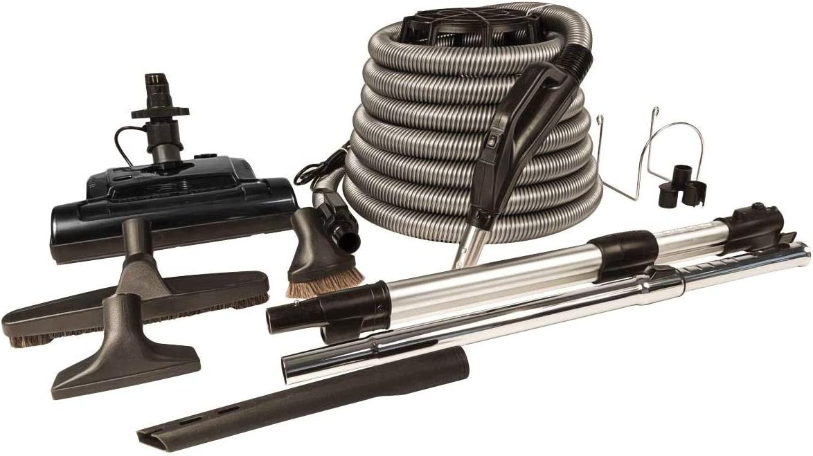 ZVac Universal Central Vacuum Accessories Kit for Central Vacuum Systems with Electric Powerhead Nozzle ZPH-33 & 30 ft Hose Compatible with Miele, Nutone, Electrolux, Hayden, Centec, Kenmore & Airvac