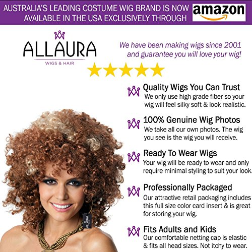 ALLAURA 60s and 70s Afro Wig for Women! Big Brown Blonde Short Curly Disco Costume Wigs by ALLAURA (Image #3)