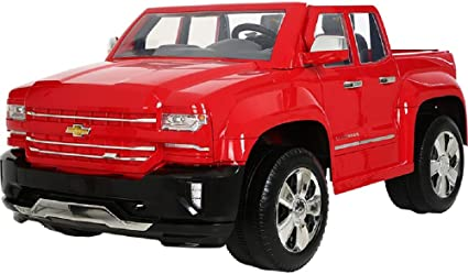 Red Chevy Silverado >> Rollplay 12v Chevy Silverado Kid S Truck Two Seat Ride On Toyup To 5 Mph Battery Powered Kid S Car Ages 3 Up Red