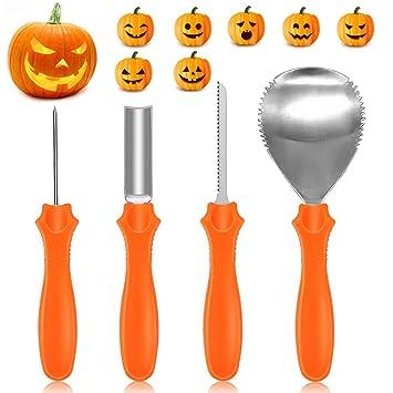 Yifone Kürbis Schnitzset Halloween Edelstahl Kürbis Schnitzwerkzeuge 4 Teilig Wiederverwendbare Inkl 10 Schnitz Vorlagen