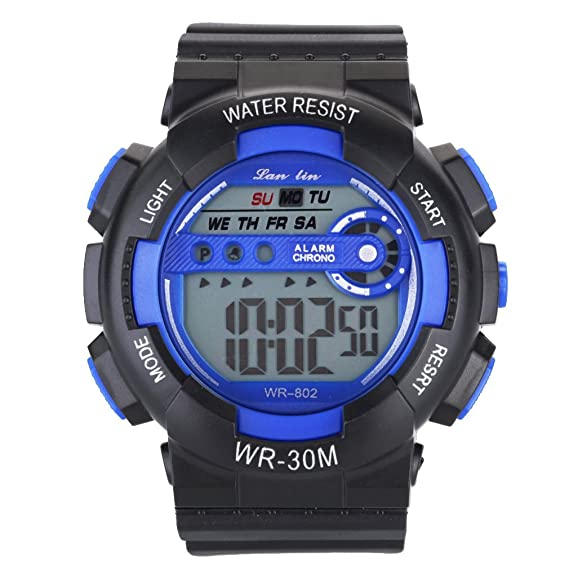 Amazon.com: YAZILIND Unisex Sports Watch Multifunction Led Light Digital Waterproof Wristwatch-Blue: Watches