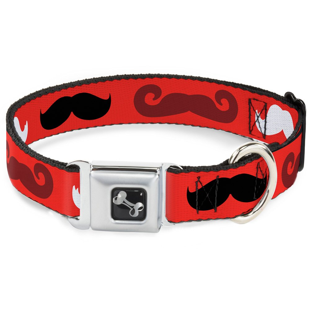 Buckle-Down 13-18  Mustaches Red Brown White Black Dog Collar Bone, Wide Small