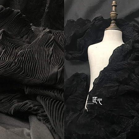JKLAQ Telas por Metros para Vestidos- Tejido De Algodón Plisado Negro Retro Transmisión De Luz Diseño Tela Imitación Fibra Química, Negro: Amazon.es: Hogar