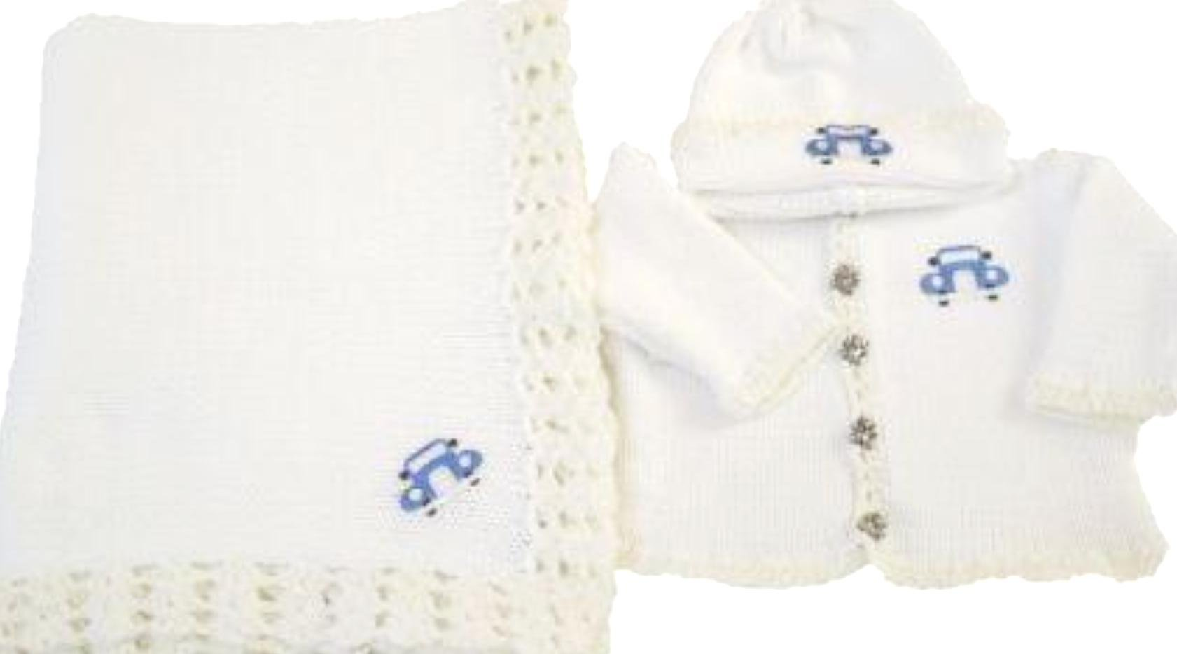 Knitted on Hand Knitting Machine White Cotton Hand Crochet Finished Infant Boys Cardigan, Hat Set Trimmed with Trimmed with Blue Race Car and Matching Large Blanket (18-24mo)