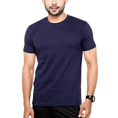 1809a102270f FLEXIMAA Men's Round Neck Plain T-Shirt Navy Blue Color: Amazon.in:  Clothing & Accessories