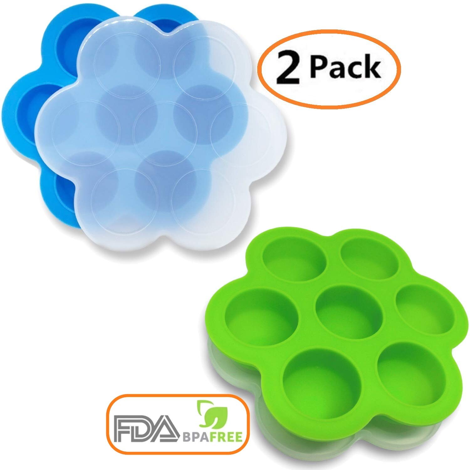 OGGO Silicone Egg Bites Molds For Instant Pot Accessories - Fit Instant Pot 5,6,8 qt Pressure Cooker - Baby Food Freezer Tray with Lid - Reusable Storage Container - 2 Pack by OGGO