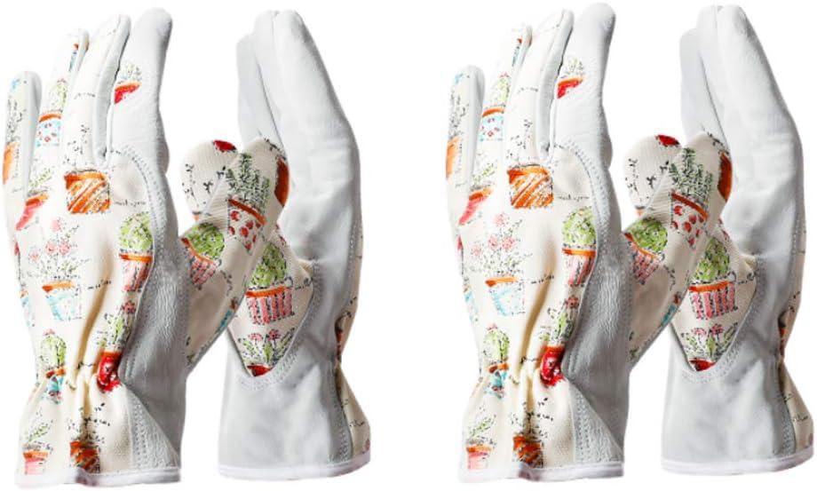 Worth Garden 2 Pairs Cute Canvas & Leather Working Gloves for Women Gardener Planting,Restoration Work,Durable Protective Gardening Gloves, Cheerful Bonsai Print Design,Gift for Spring-Medium Size