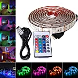 Wiseworld RGB LED Strip Lights 6.56ft for 40-60in TV, USB Powered 5V SMD 5050 Flexible Waterproof TV Back light with 24 Keys IR Remote Control for TV Background Lighting Home Decoration - 78Inches/2M