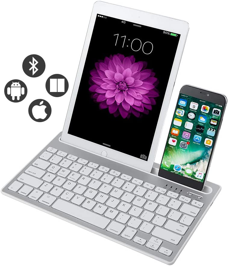 Bluetooth Keyboard, Dual Channel Multi-Device Universal Wireless Bluetooth Rechargeable Keyboard with Sturdy Stand for Tablet Smartphone PC Windows Android iOS Mac