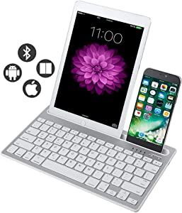 Rechargeable Bluetooth Mini Keyboard with Phone Holder Wireless Multi-Device Dual Channel Keyboard for Tablet/Laptop/Phone,Compatible with iOS/Windows/Android-White