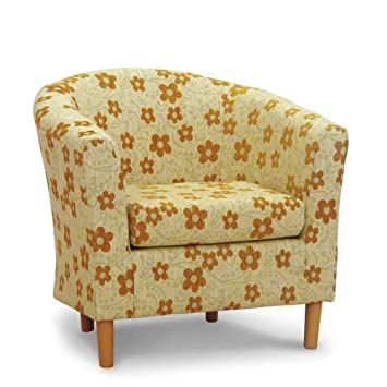 Home Life Direct Mustard Floral Fabric Tub Chair Bucket Seat
