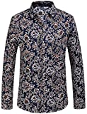 SSLR Men's Paisley Printed Long Sleeve Shirt (Medium, Blue)