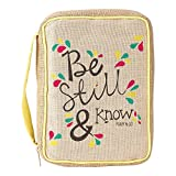 Natural Flower Petals Be Still and Know Small Cotton and Jute Bible Cover with Handle