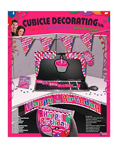 Adult's Happy Birthday Work Desk Cubicle Office Pink Decorating Kit (Pink Decorating Kit)
