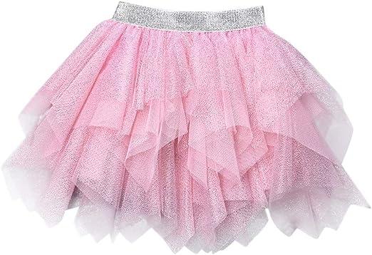 goodjinHH Falda de Tul Irregular para niñas Rosa Rosa 3-4 años ...