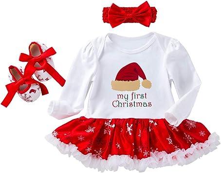 3PCS Newborn Infant Baby Girl Xmas Outfit Clothes Set Romper Bodysuit+Tutu Skirt