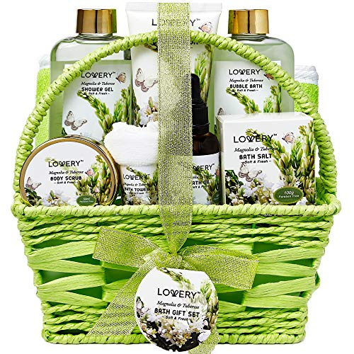 Bath and Body Gift Basket For Women and Men - Magnolia and Tuberose Home Spa Set, Includes Fragrant Lotions, Massage Oil, Bath Towel and More - 9 Piece Set
