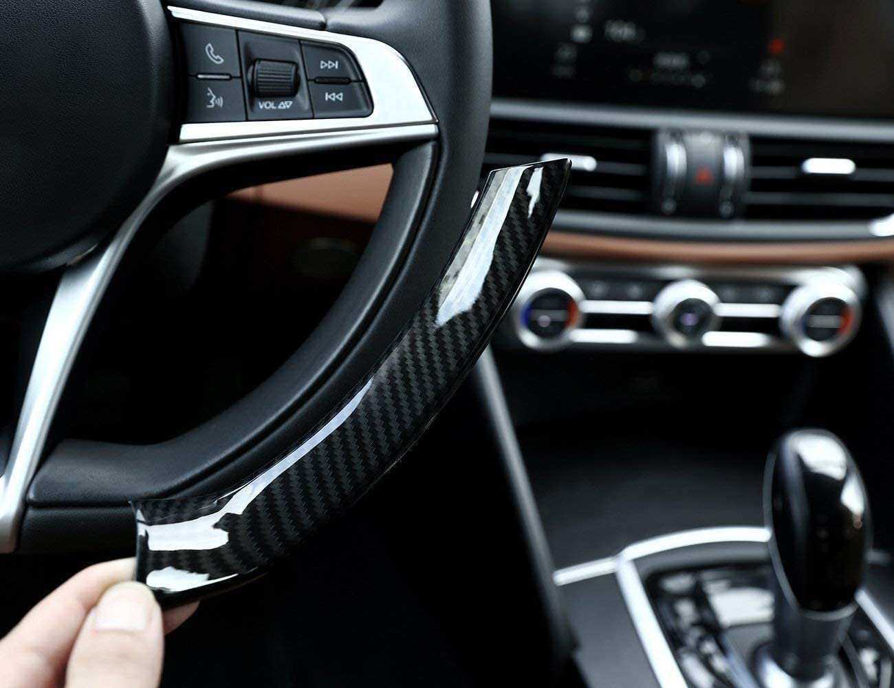 For Alfa Giulia Stelvio 2017, ABS Plastic Carbon Fiber Style Steering Wheel Decoration Frame Cover
