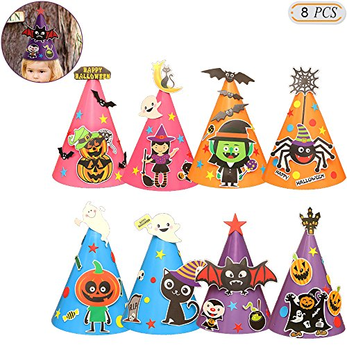 Hisight Halloween Witch Pumpkin Costume Hats DIY Cardboard