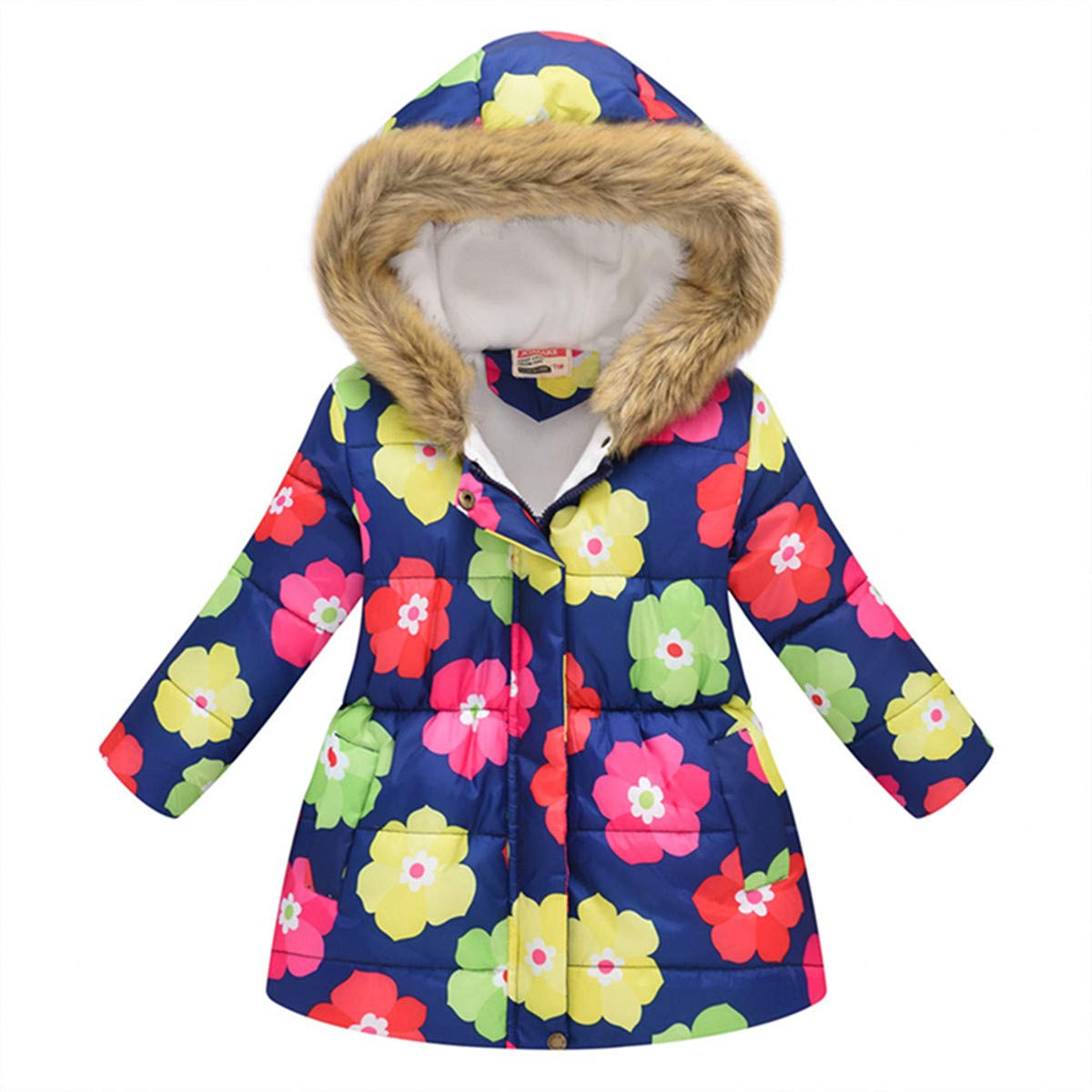 Miss Bei Girls Coat Water-Resistant Hooded Kids Toddler Winter Flower Print Parka Outwear Warm Cotton Coat Hooded Jacket
