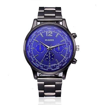 Reloje Hombres ❤ Amlaiworld Reloj de pulsera de cuarzo analógico de acero inoxidable cristalino de hombre de moda (D): Amazon.es: Deportes y aire libre