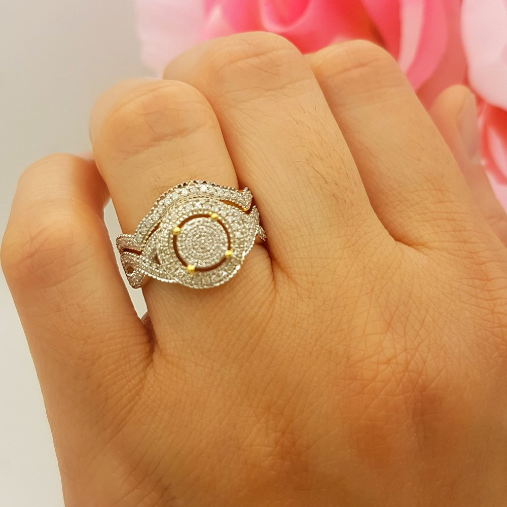 Dazzlingrock Collection 0.50 Carat (ctw) 18K Yellow Gold Plated Sterling Silver Round Diamond Ladies Micro Pave Engagement Ring Set 1/2 CT, Size 7.5 by Dazzlingrock Collection (Image #2)