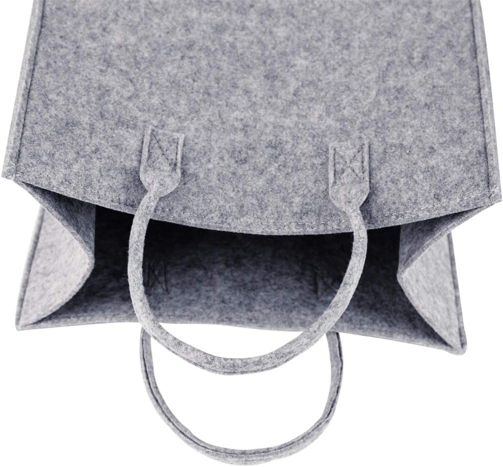 GWELL Filztasche Einkaufstasche Stoff Shopper Bag Henkeltasche Einkaufskorb Aufbewahrung Kaminholztasche Hellgrau mit wei/ßem Stern S