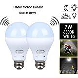Motion Sensor Light Bulb Dusk to Dawn Light Bulb LED E26 Base Indoor Outdoor Motion Sensor Bulb 7W 6500K White Radar Smart Bulb Auto On/Off(2 PACK)