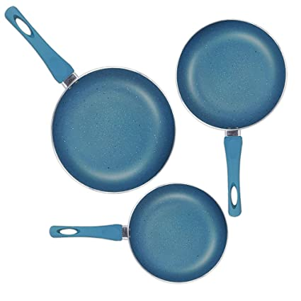 Sartenes de Aluminio con Revestimiento Tipo Granito   Juego de 3   Color Azul