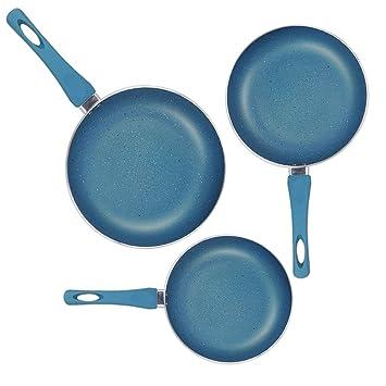Sartenes de Aluminio con Revestimiento Tipo Granito | Juego de 3 | Color Azul: Amazon.es: Hogar