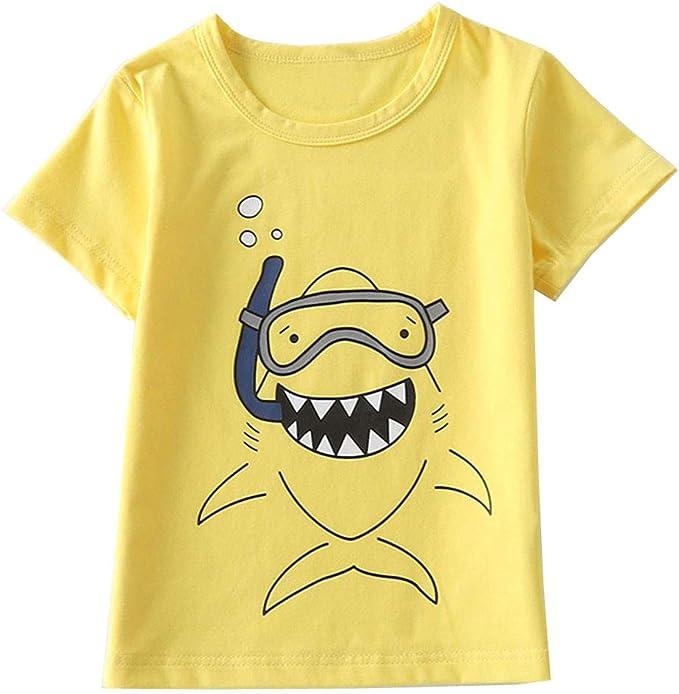 PinkLu ✿ Ropa Recién Bebé Niño Primavera Verano Patrón de Dibujos Animados Dinosaurio Tiburón O-Cuello Manga Corta Niños Ropa: Amazon.es: Ropa y accesorios