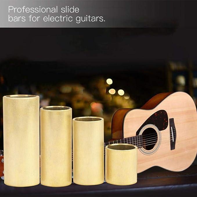 Dilwe 4Pcs Diapositiva de Guitarra, Guitarra Eléctrica Dedo Cuerda Slide Bar Slider Accesorios Latón Color: Amazon.es: Deportes y aire libre